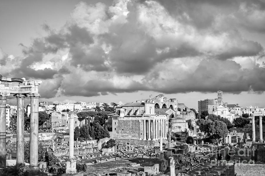 Rome Photograph - Roman Forum in Roma BW Photo by Stefano Senise