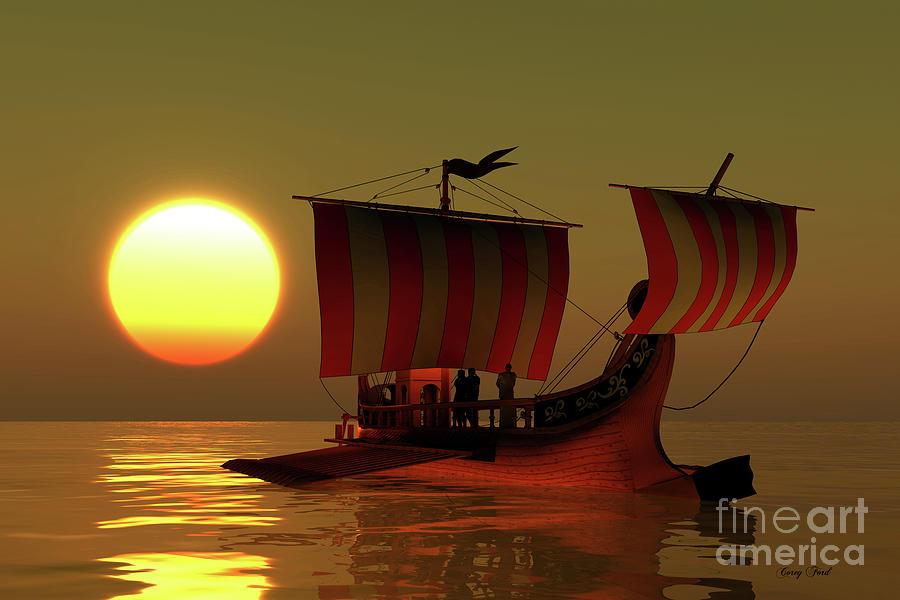 Roman Ship Digital Art