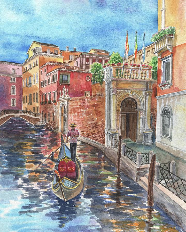 Romantic Ride Is Ready Venice Gondolier Italian Channel Watercolor   by Irina Sztukowski