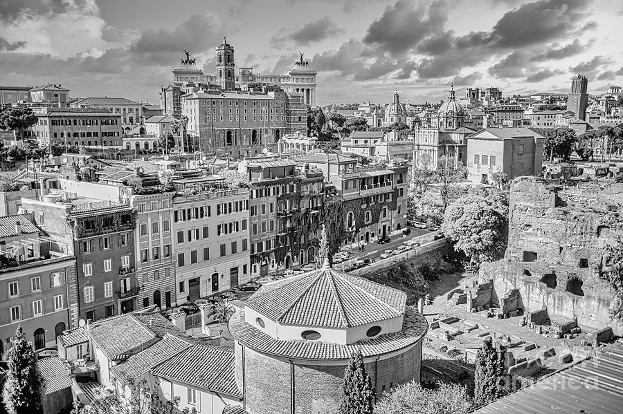 Rome Photograph - Rome - Eternal City Panorama Black And White by Stefano Senise