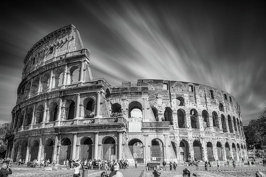 Colosseum Photograph - Rome - Majestic Colosseum Black And White by Stefano Senise