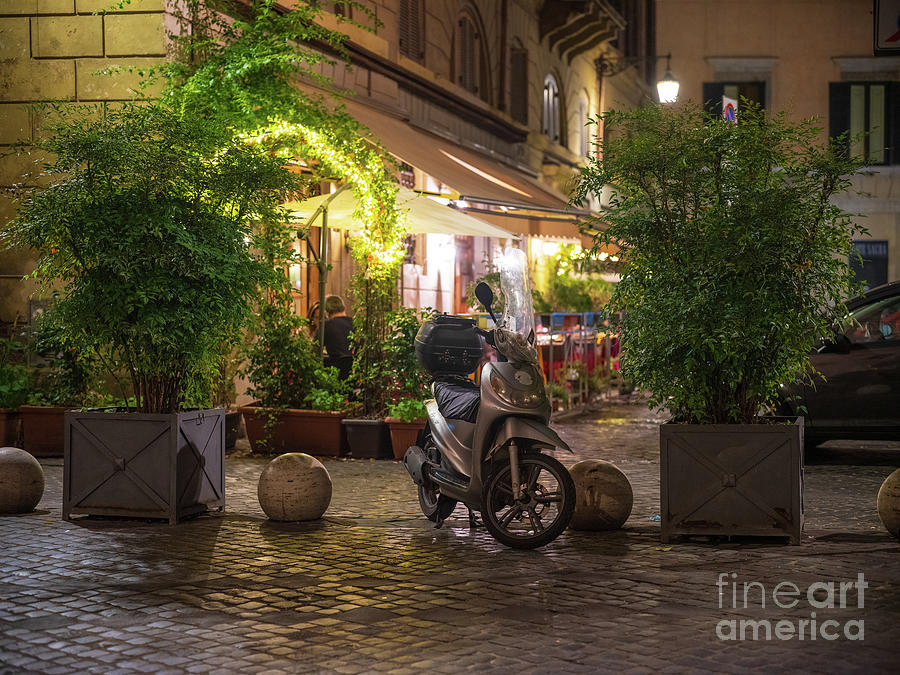 Oratory Photograph - Rome Night Cafe by Mike Reid