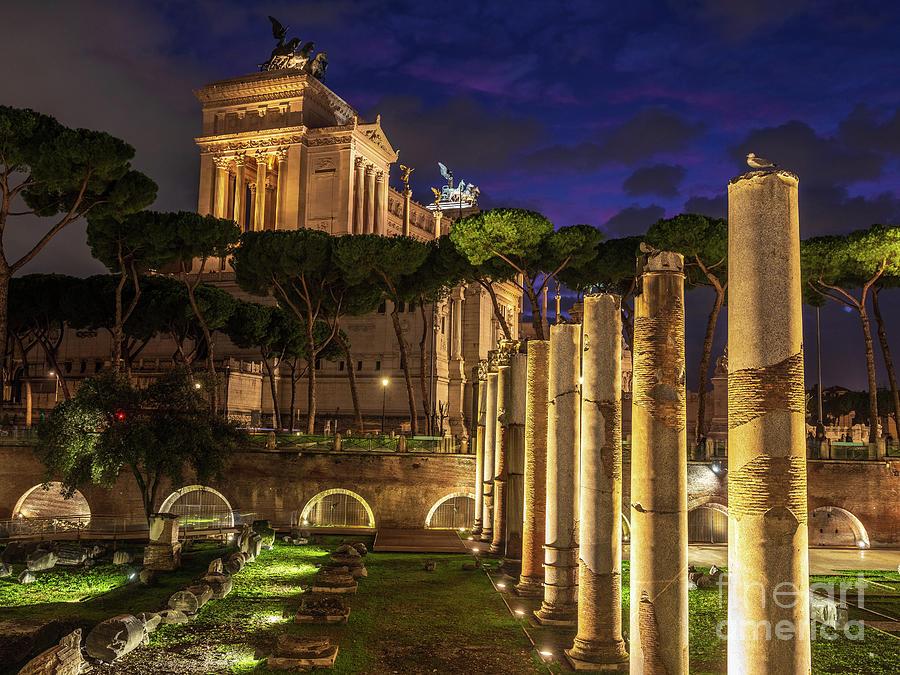 Rome Night Piazza Venezia Columns Photograph