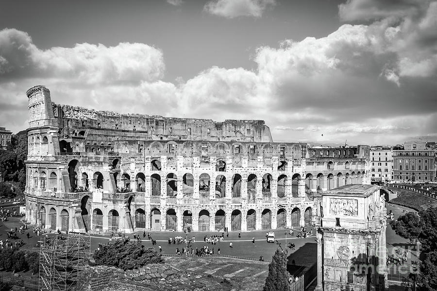 Colosseum Photograph - Rome - Piazza del Colosseo Black And White by Stefano Senise