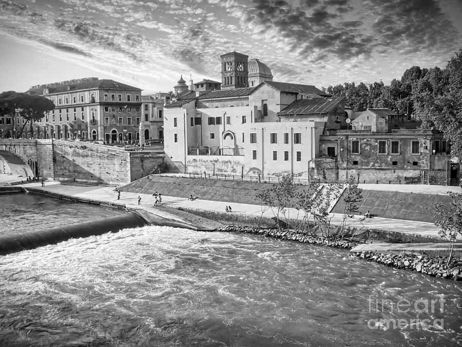 Trastevere Photograph - Rome - Tiber River and Tiber Island Black and White by Stefano Senise