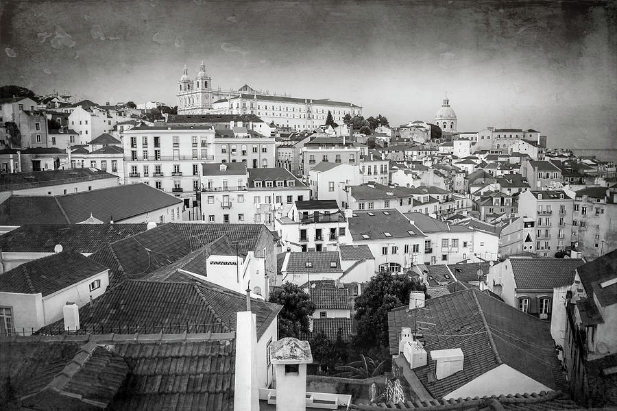 Rooftops Of Alfama Lisbon Black And White Photograph
