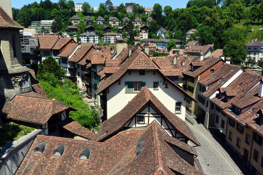 Cobblestone Streets Photograph - Rooftops of Medieval Bern, Switzerland by Two Small Potatoes