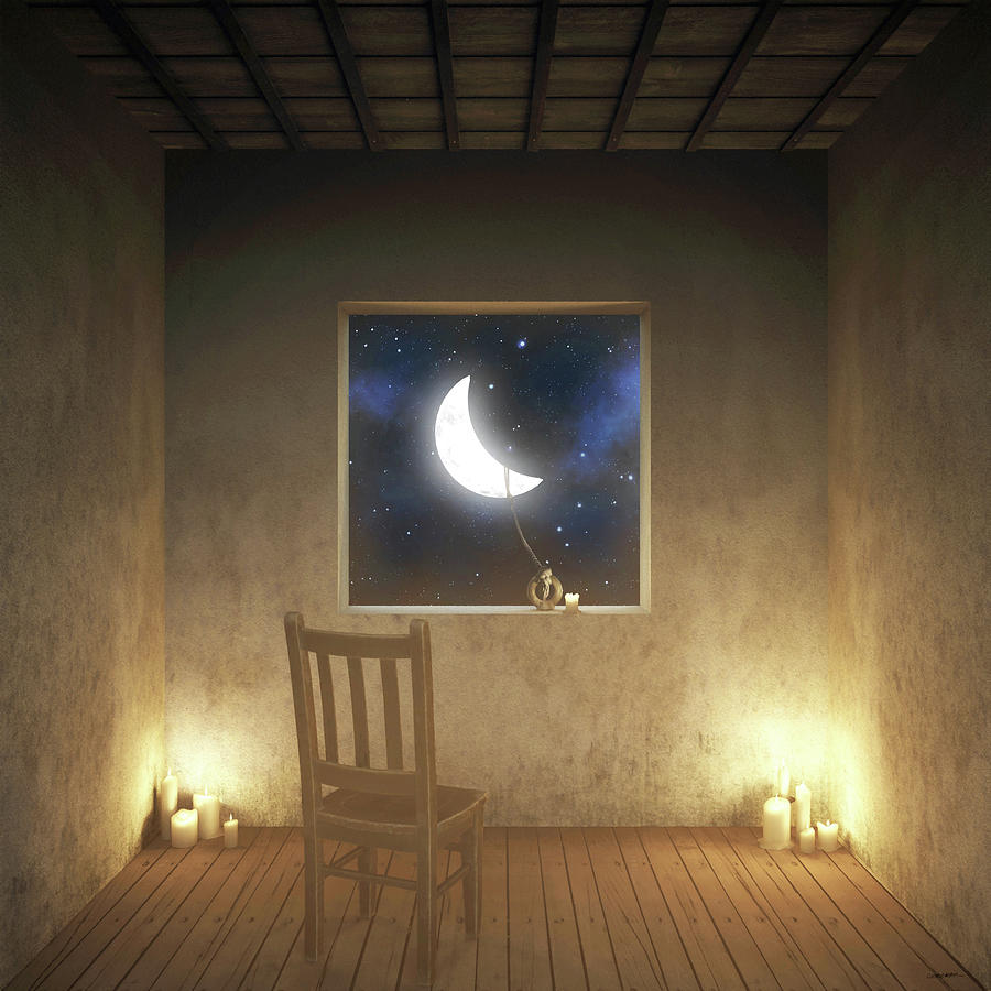 Surreal Digital Art - Room With a View Night by Cynthia Decker