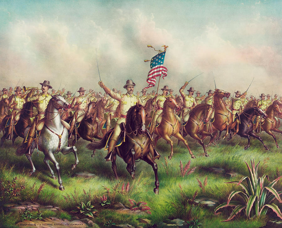 Roosevelt Leading The Rough Riders - Spanish American War Painting