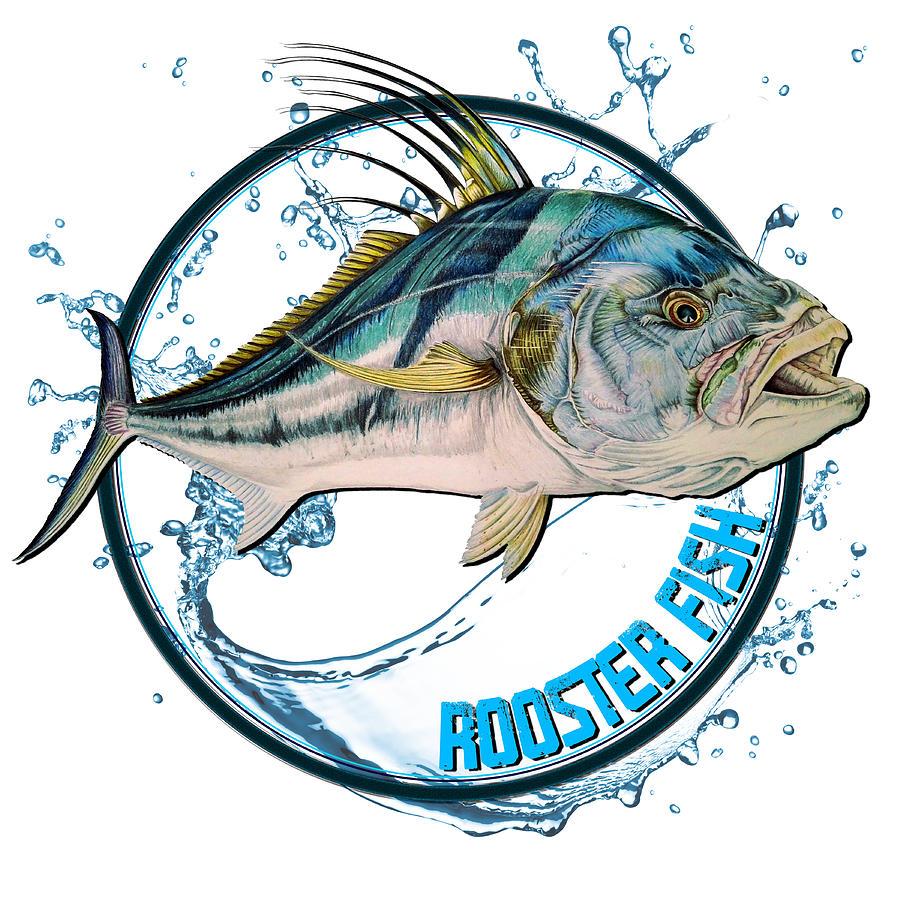 Rooster Fish Logo Mixed Media