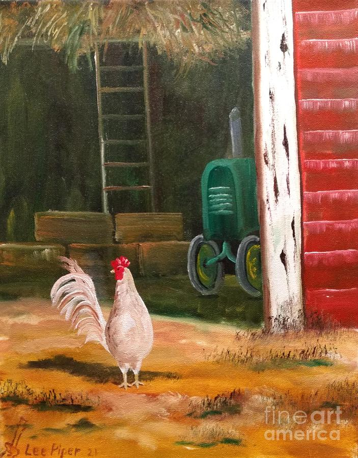 Rooster Painting - Rooster In A Barn Door by Lee Piper