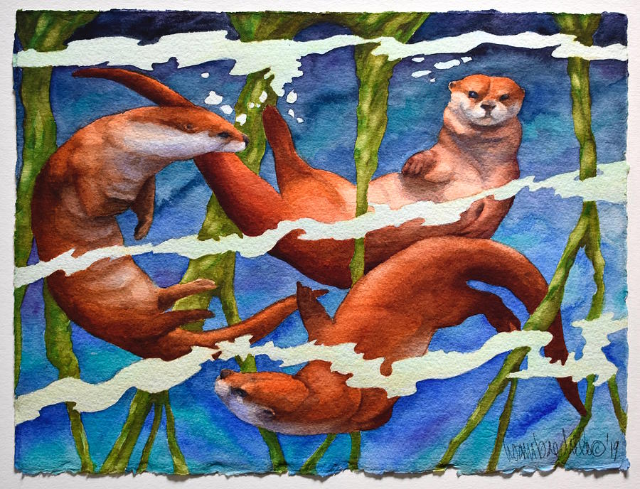 Otter Painting - Roots Of Play by Lisa Baechtle