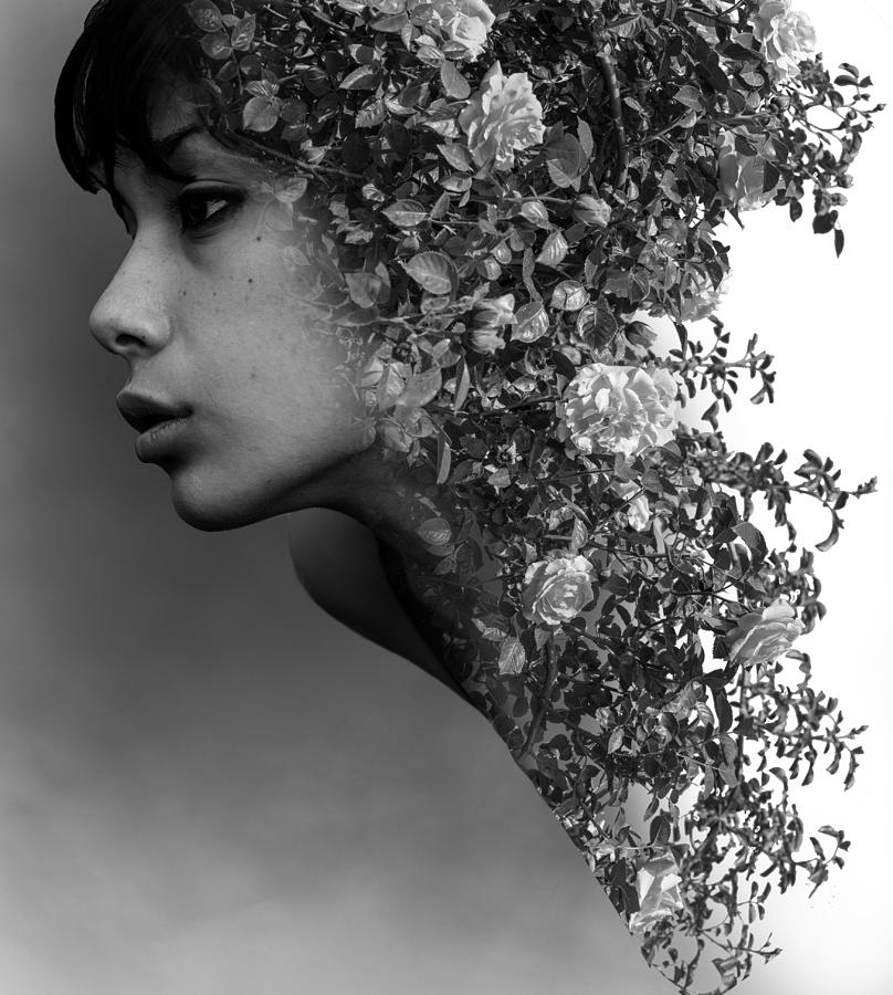Rose And Woman Double Exposure Photography Surreal Digital Art