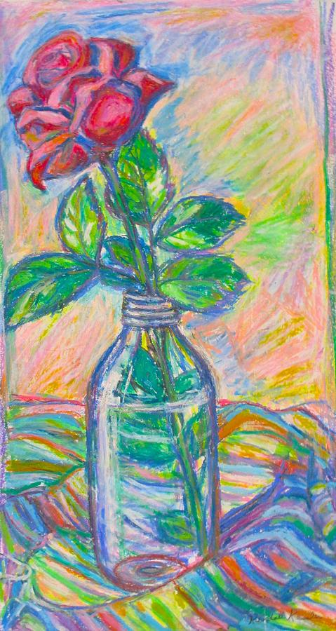 Still Life Painting - Rose in a Bottle by Kendall Kessler
