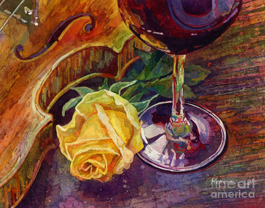 Rose, Wine, And Violin Painting