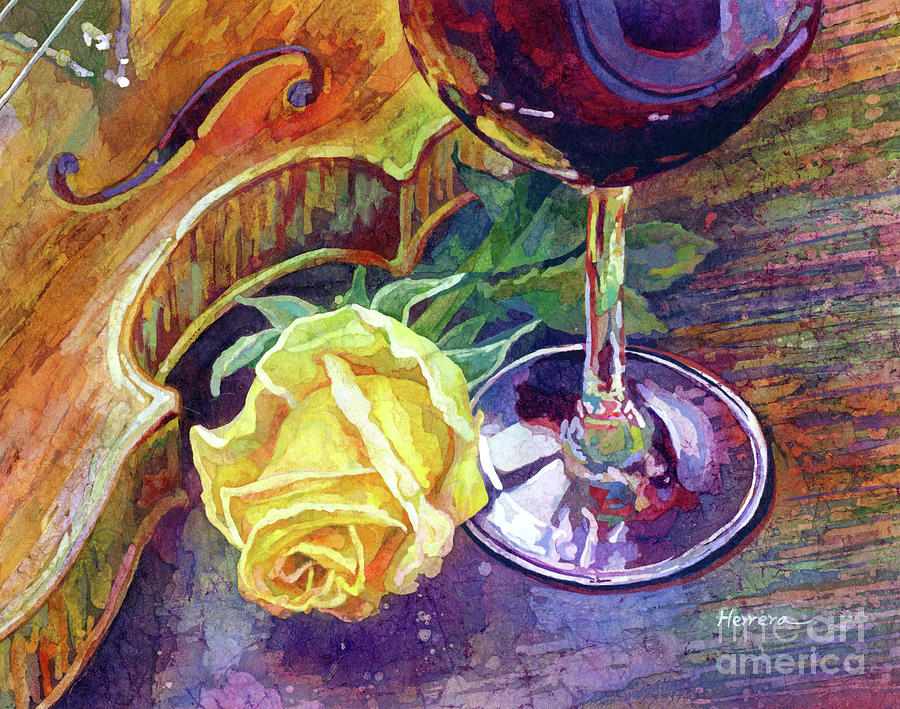 Rose, Wine, And Violin-pastel Colors Painting