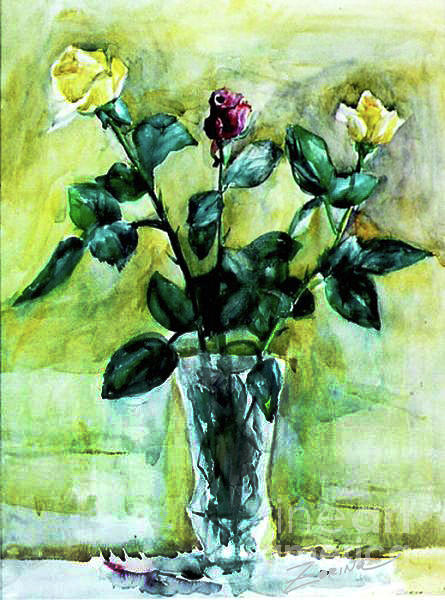 Multi Color Painting - Roses. 13.5x18 by Zorina Kunkina