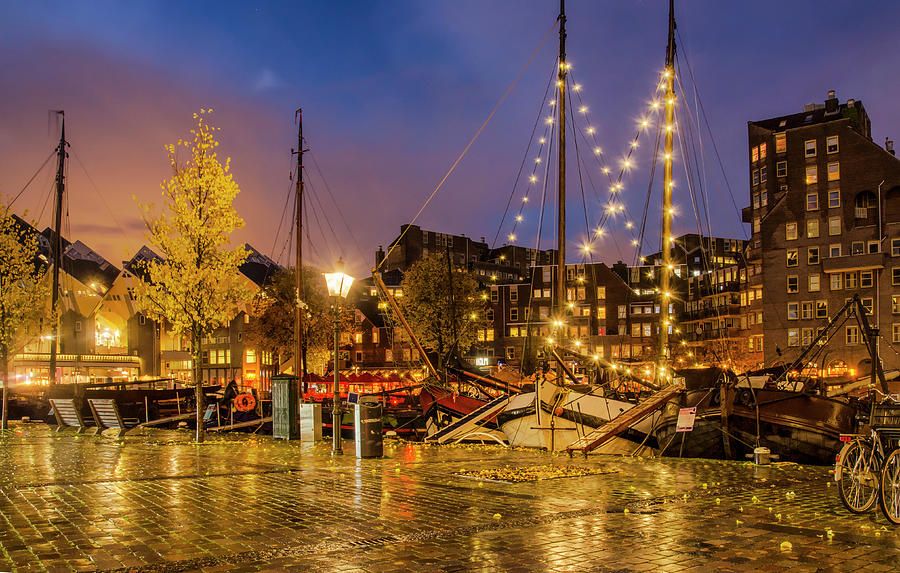 Rotterdam Old Harbour in the Blue Hour by Frans Blok