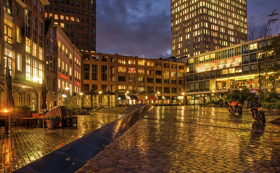 Rotterdam Square in the Rain by Frans Blok