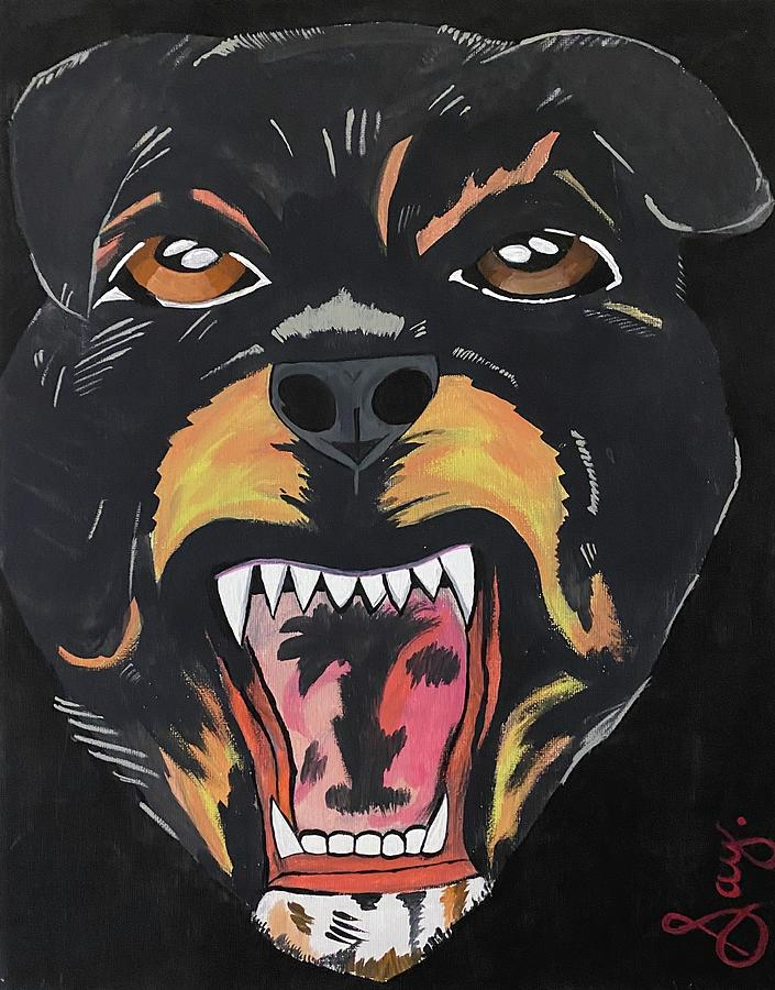 Rottweiler Painting - Rottweiler by Mike Boodram