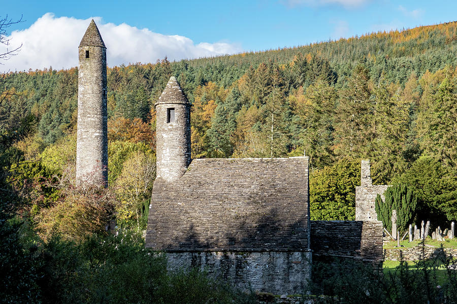 Round Tower Photograph - Round Tower and St. Kevins Kitchen - Glendalough, Ireland by Barry O Carroll