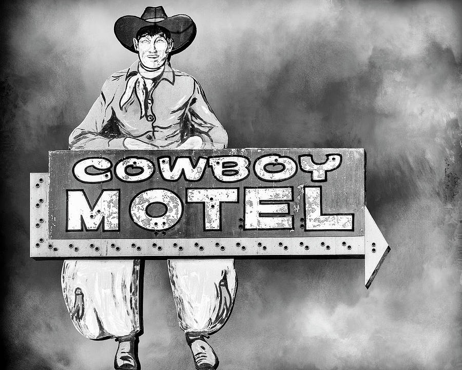 Route 66 Cowboy Motel Retro Neon Sign  by Gigi Ebert