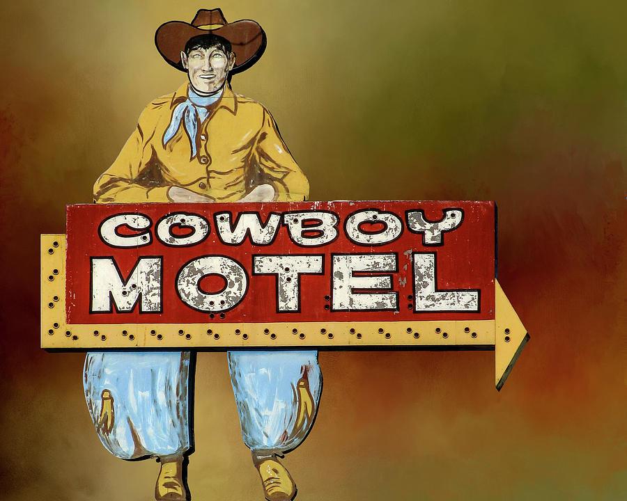 Route 66 Cowboy Motel Vintage Neon Sign by Gigi Ebert