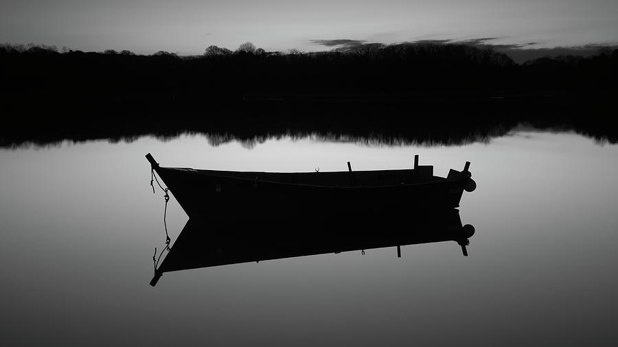 Row Boat Photograph - Row Boat Silhouette Reflection by Dapixara Art