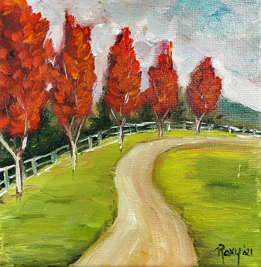 Row Of Maple Trees Painting