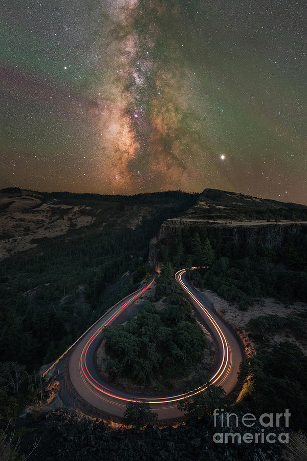 Milky Way Galaxy Photograph - Rowena Crest Bend Night Lights Pano by Michael Ver Sprill