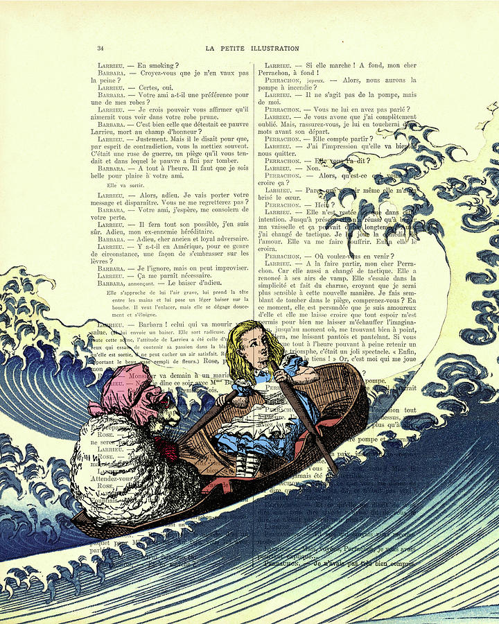 Alice In Wonderland Drawing - Rowing Alice in Wonderland fantasy artwork by Madame Memento