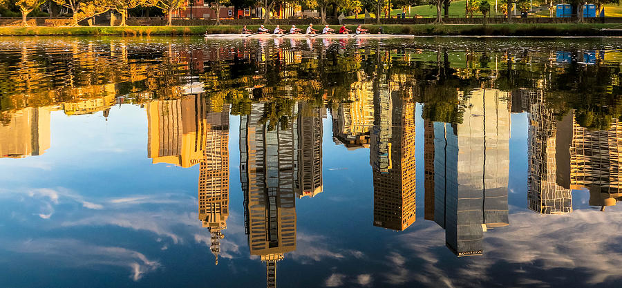 Melbourne Photograph - Rowing on Melbourne reflections  by Leigh Henningham