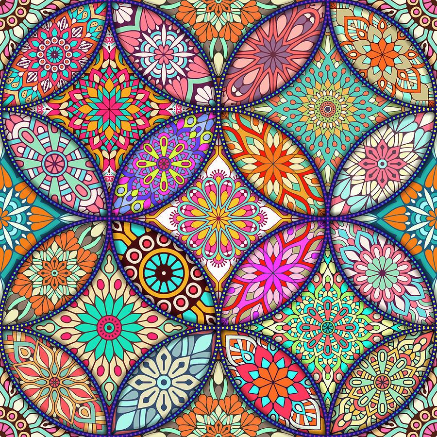 Rubino Geometric Logo T-shirt T Shirt Tee Tees Original Ethnic Floral Circle Pattern Floral Flower Painting