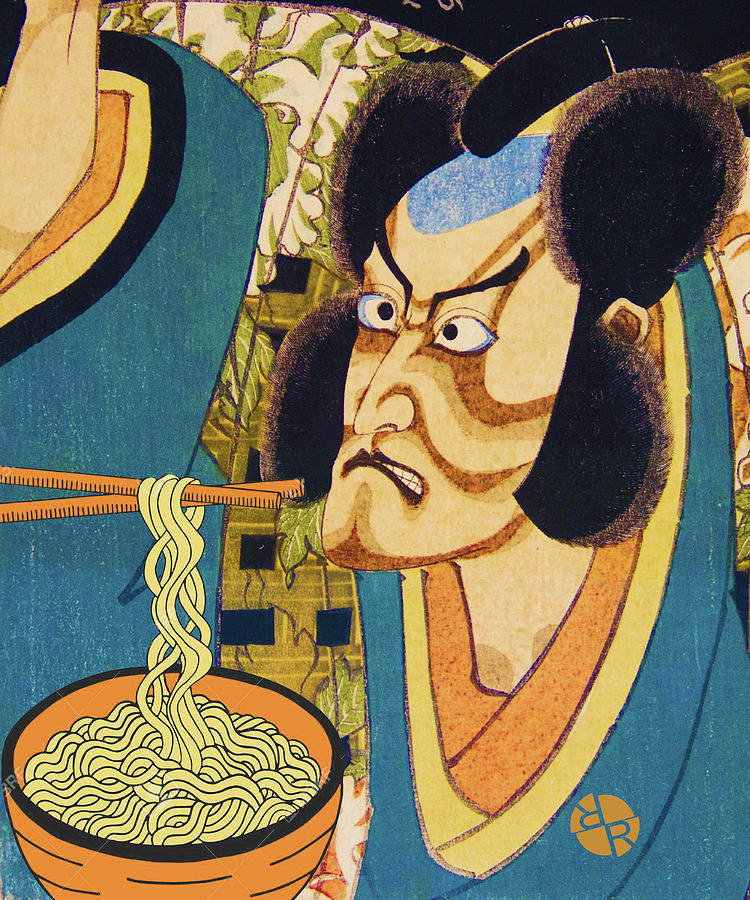 Rubino Samurai Eats Noodles Funny by Tony Rubino