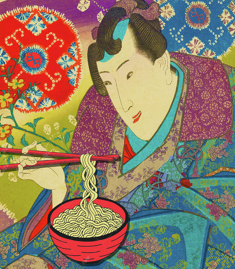 Rubino Samurai Eats Noodles Happy by Tony Rubino