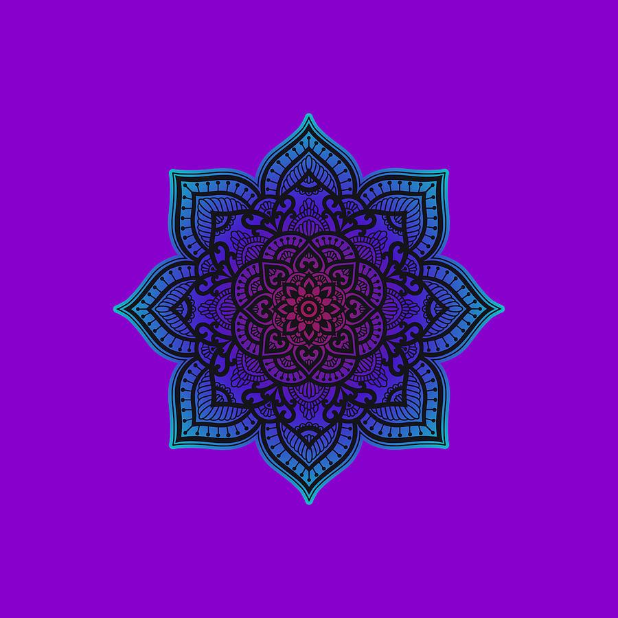 Rubino Zen Flower Yoga Mandala Asia Purple T-shirt Tee Tees Painting
