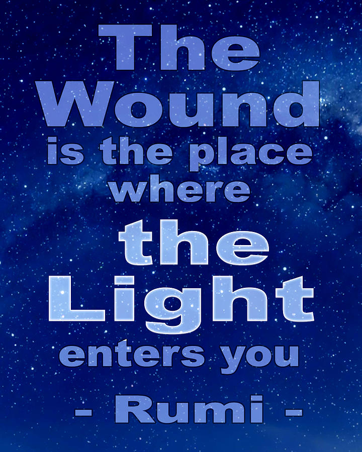 Rumis The Wound Quote - Blue Milky Way  Background Digital Art
