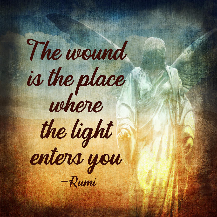 Rumis The Wound Quote With Angel Digital Art