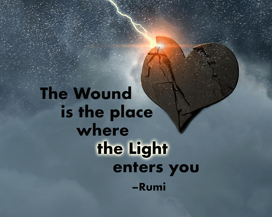 Rumis The Wound Quote With Lightning And Heart Digital Art