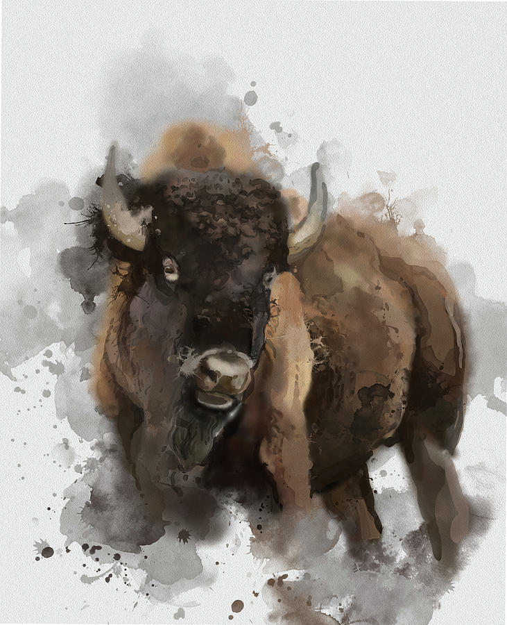 Running Buffalo Digital Art