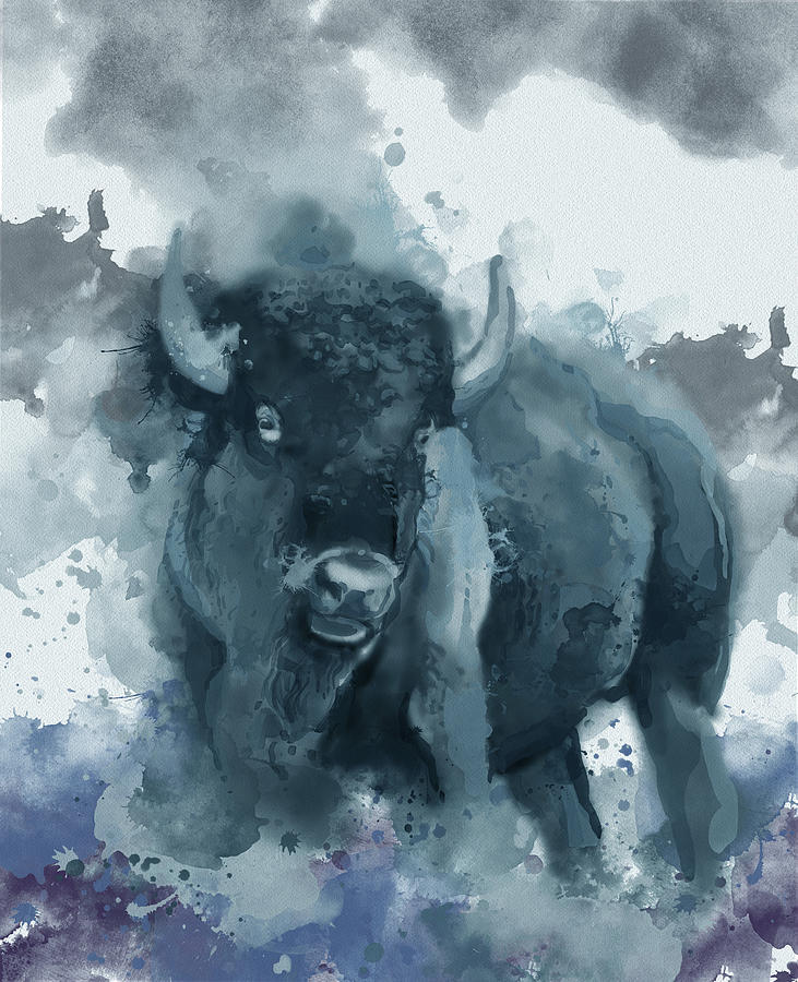 Running Buffalo Blue Digital Art