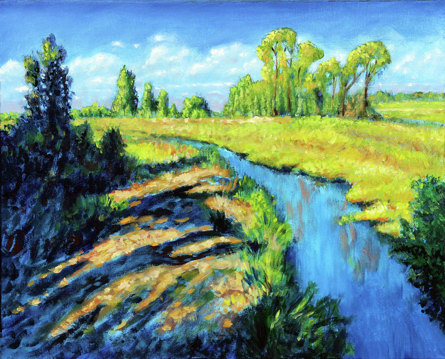 Creek Painting - Running Creek by John Lautermilch
