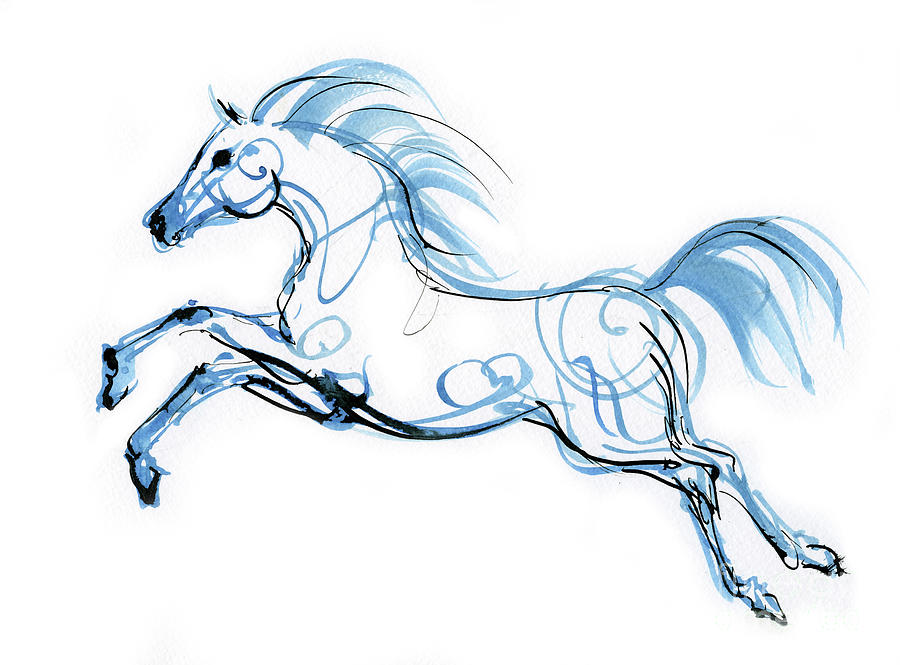 Running horse ink drawing 2019 12 01 by Angel Ciesniarska
