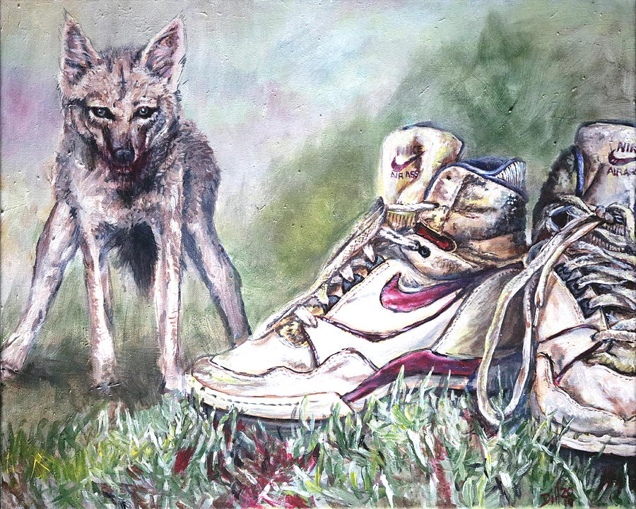 Running with Jackal Painting by Rust Dill