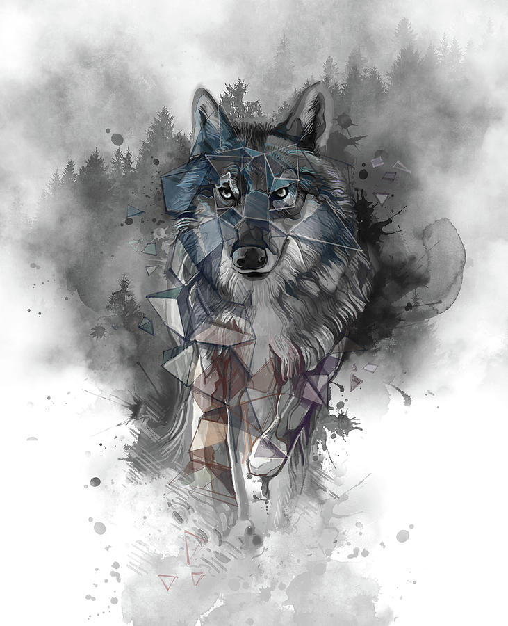 Running Wolf Geometric Digital Art