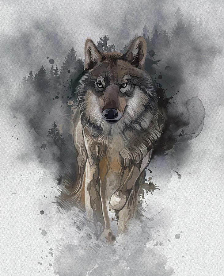 Running Wolf Vintage Digital Art