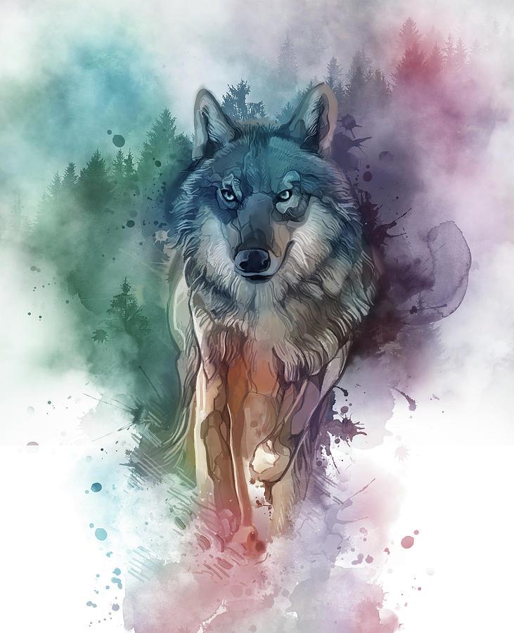 Running Wolf  Watercolor Digital Art