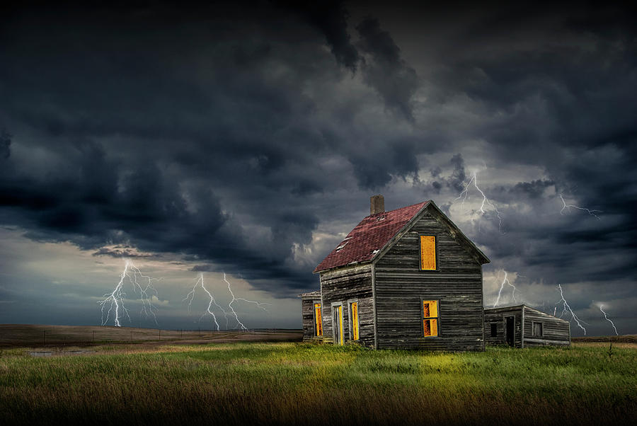 Rural Farm House on the Prarie in a Thunder Storm by Randall Nyhof