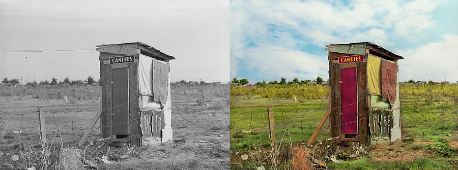 Rural - Outhouse - Free candies 1939 - Side by Side by Mike Savad
