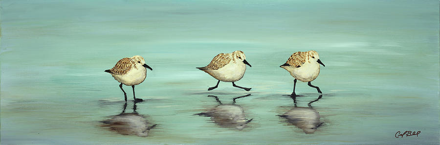 Sandpipers Painting - Rush Hour by Carolyn Bland